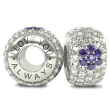 I Love You Always - Silver 925 4 Purple Austrian Crystals Bead Charm