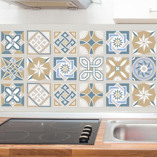 Lyon Encaustic Tiles Wall Stickers - 15 cm x 15 cm - 24 pcs.