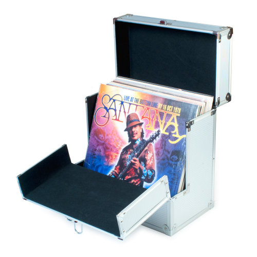 "Retro Musique Aluminium 12"" Vinyl Record LP Storage Case with unique folding front flap for better access to your LPs (Silver)"