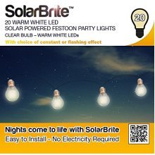 Solar Brite Deluxe 20 Warm White LED Solar Powered Festoon Party Lights Clear Bulb Eco friendly