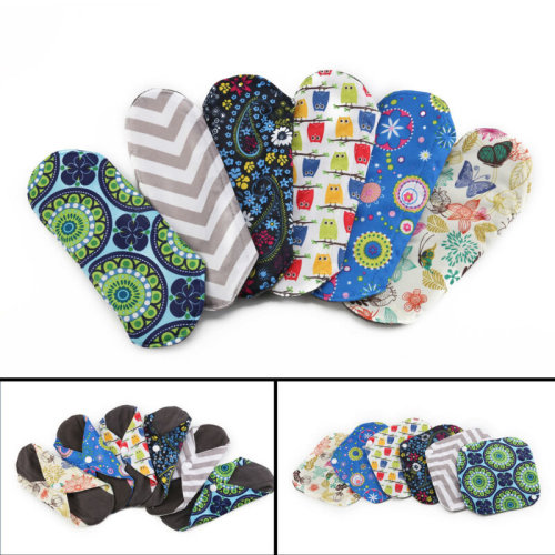 6X Waterproof Reusable Bamboo Sanitary Menstrual Cloth Pads Liners+Free Bag