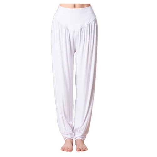 Solid Modal Cotton Soft Yoga Sports Dance Fitness Trousers Harem Pants, A
