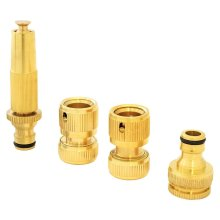 Parkland 4Pc Brass Hose Pipe Fitting Set Garden Tap Hosepipe Quick Connectors & Spray Nozzle