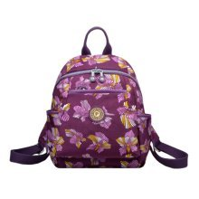 Women Zipper Backpack Water Resistant Under 13-Inch Laptop, Purple, Butterfly