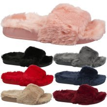 Sorrel Womens Flat Slip On Fur Sliders