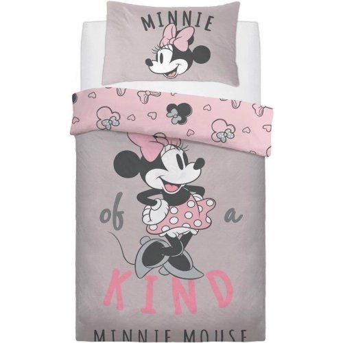 Official Disney Minnie Mouse One of A Kind Reversible Single Duvet Cover with Matching Pillow Case Bedding Set