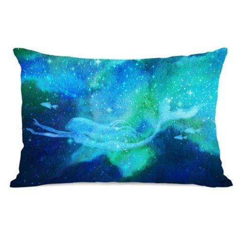 One Bella Casa 74345PL42 Mermaid in the Sky Pillow, Blue