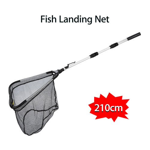 Portable Fold Folding Fishing Landing Net Pole Rod 2 Meters Catch Fish