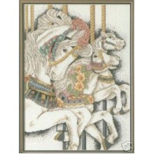 Fantasy Ride Carousel Horses Cross Stitch Chart