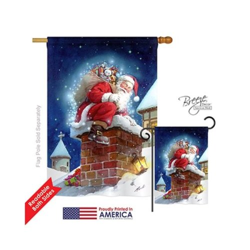 Breeze Decor 14106 Christmas Chimney Santa 2-Sided Vertical Impression House Flag - 28 x 40 in.