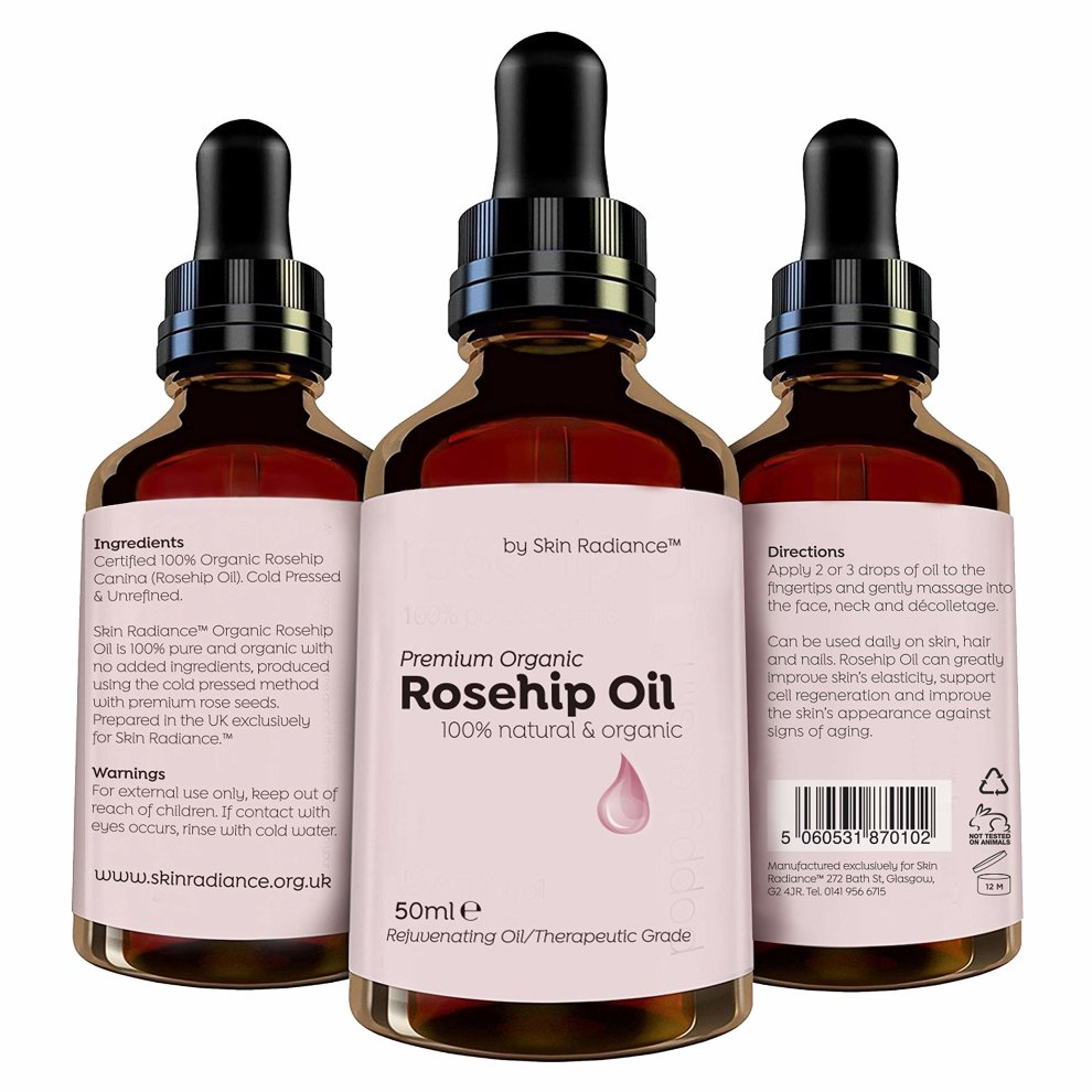 Purest Rosehip Oil Organic by Skin Radiance® Large 50ml - 100% Certified  Organic Cold Pressed Rosehip Seed Oil for Face - Cruelty Free & Vegan