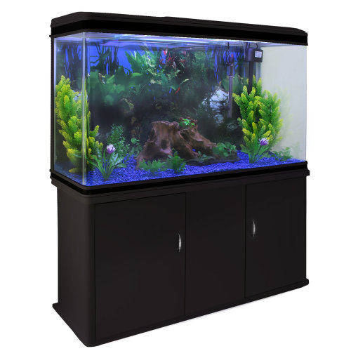 Aquarium Fish Tank Cabinet with Complete Set Up Black Tank Blue Gravel