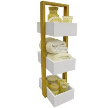 ECHE - 3 Tier Bathroom Storage Shelf / Caddy / Basket - White / Bamboo