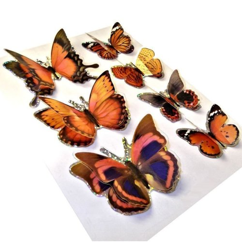 3D Butterfly Stickers - Wall Art / Decorations - Set of 7 - Assorted Colours