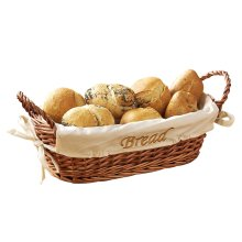 Wicker Bread  Basket With Cream Fabric Lining, Natural