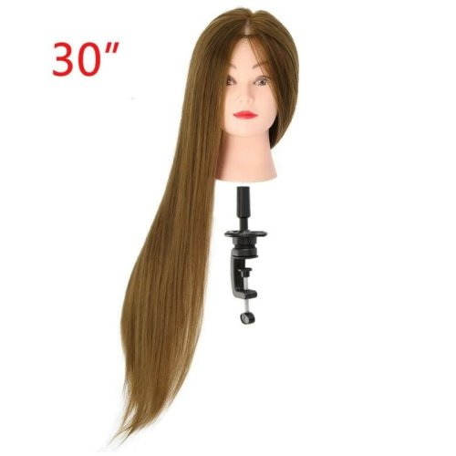 30'' Salon Hairdressing Training Head 50% Real Human Hair Mannequin Doll + Clamp