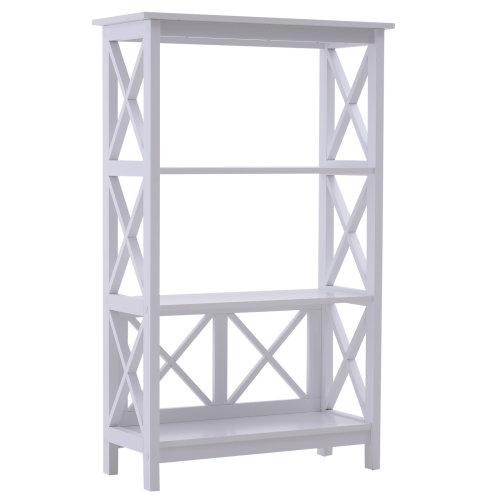 HOMCOM 4 Tier Multi-Use Shelf Freestanding Rack Organizer Display Shelves Bookcase Home Storage  Multifunctional Holder Utility Stand