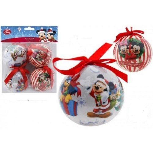 Disney Mickey Mouse 8cm Christmas Baubles, Set of 4