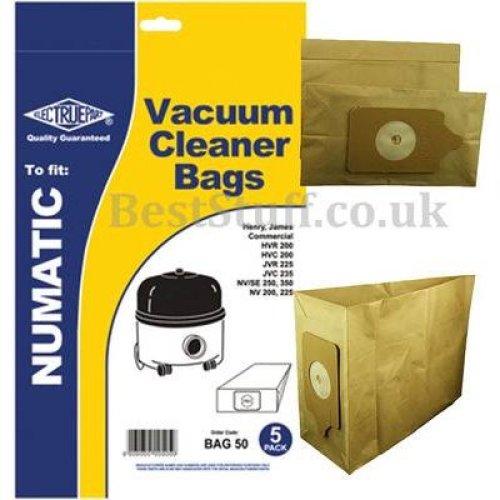 Electruepart BAG 50 5 pack of  Bags to fit Henry, James, Basil etc