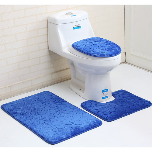 3ps 3D stone pattern Flannel carpet toilet For bathroom
