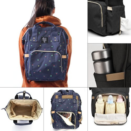 High-capacity Mom Maternity Nappy Backpack Multifunction Outdoor Diaper Bags With Bottle Sleeve