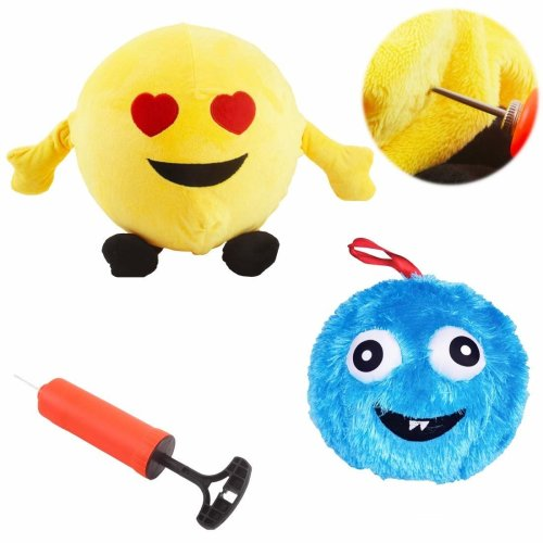deAO 2-in-1 Fuzzy Monster Emoji Inflatable Bounce Balls with Ball Pump – Fun for Children
