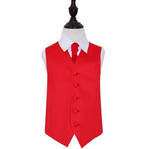 Red Plain Satin Wedding Waistcoat & Cravat Set for Boys 30'