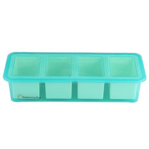 Simple Practical Plastic Condiment Pots Seasoning Salt Pepper Spice Box, Light Blue