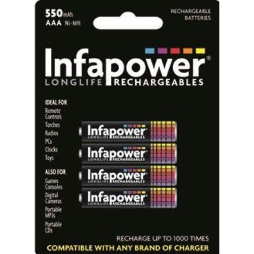 INFAPOWER AAA 550MAH NI-MH Rechargeable Batteries, 4-Pack (B009)