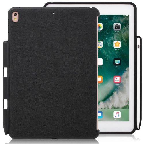 iPad Pro 10.5 Inch Black Charcoal Gray Color Case With Pen Holder - Companion Cover - Perfect match for Apple Smart keyboard and Cover