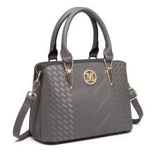 (Grey) Miss Lulu Women's Zip Top Multiway Bag