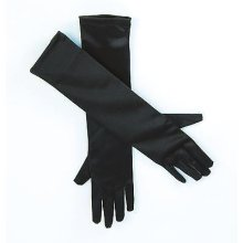 "19"" Black Satin Elbow Gloves -  gloves black satin fancy dress 19 accessory ladies white FANCY DRESS LADIES LONG BLACK GLOVES OPERA CHARLESTON FLAPPER"