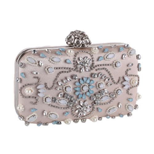 Women's Vintage Style Clutch Evening Bag Elegant Beaded Bag Luxurious Handbag Purse Cocktail Party,B