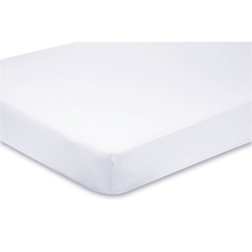 2x Travel Cot Fitted Sheets 100% Cotton 95cm x 65cm - White