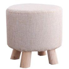 Creative Wood Linen for Shoe Stool Household Stool Round stool Children Adults Apply, Beige