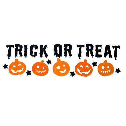 23pc Trixes Trick or Treat Window Decorations | Gel Halloween Window Stickers
