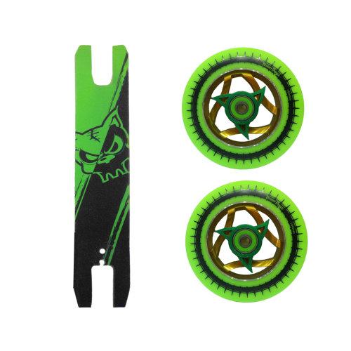 Green Pu Gold Ninja Core Scooter Wheels 110mm + Green Black Grip Tape