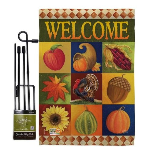 Breeze Decor BD-HA-GS-113046-IP-BO-D-US12-AM 13 x 18.5 in. Autumn Collage Fall Harvest & Vertical Double Sided Mini Garden Flag Set with Banner Pole