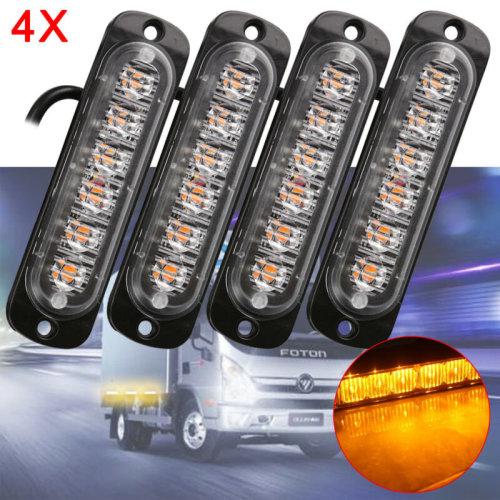 4X 6 LED Car Truck Emergency Strobe Amber Flashing Beacon Breakdown 12/24V Light