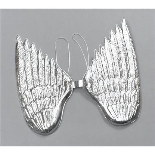 Large Silver Plastic Angel Wings