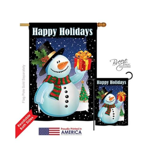 Breeze Decor 14080 Christmas Holiday Snowman 2-Sided Vertical Impression House Flag - 28 x 40 in.