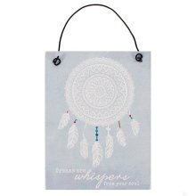 Small Wall Door Sign Plaque Dreams Are Whispers From Your Soul Dream Catcher Gift Tin