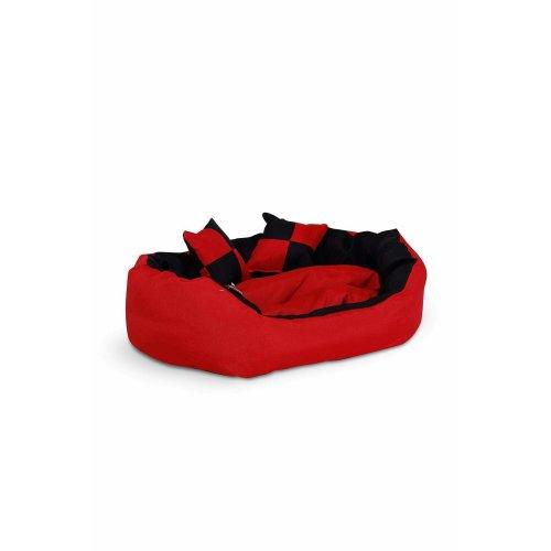 dibea Warm Basket Tearproof/Waterproof Cushion Dog/Cat Bed with Pillow, 65 x 50 x 20 cm, Red/Black