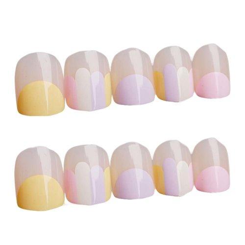 Nail Art Pink Mauve Short Round Artificial False Nail Tips Fake Nails Decoration