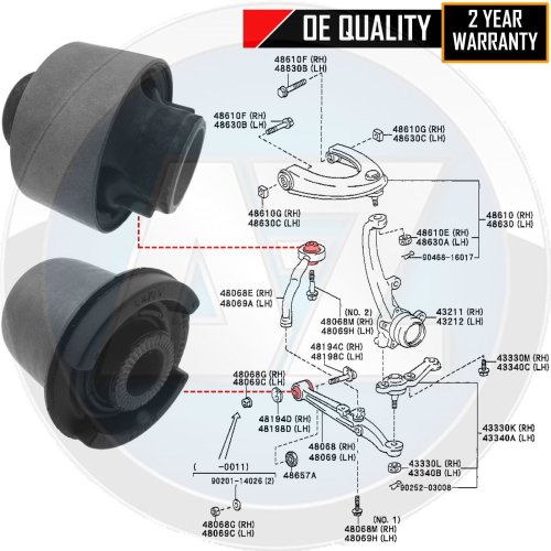 FOR LEXUS IS200 IS300 FR LOWER CONTROL SUSPENSION ARM REAR BUSH BUSHES ALTEZZA
