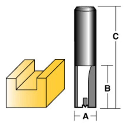 "CARBITOOL STRAIGHT ROUTER BIT 12MM LONG 1/2"" SHANK"