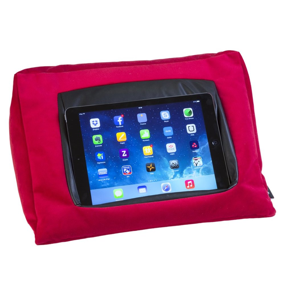 Mobiletoyz Ipad Cushion Pillow Stand Holder Red For Ipad And Other Tablet Devices Use Around The Home In Bed Or On The Desk Avoid Ipad Rsi And