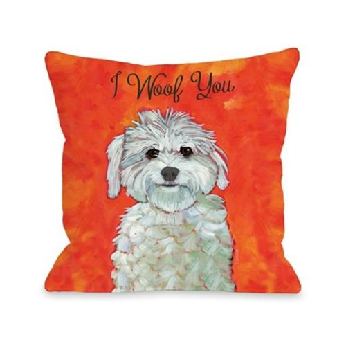 One Bella Casa 71021PL18 I Woof You Pillow by Ursula Dodge, 18 x 18 in.
