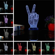 3D Scissors Hand Night Light 7 Color Change LED Desk Table Lamp Toy Gift Living Room Home Decor