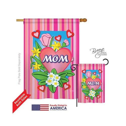 Breeze Decor 15078 Mom 2-Sided Vertical Impression House Flag - 28 x 40 in.